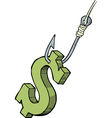 dollar on the hook vector image
