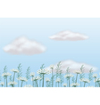 Flowers under the blue sky vector image