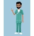 bearded nurse male syringe blood vector image