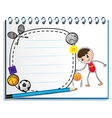 A notebook with a drawing of a boy with the vector image vector image