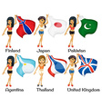 Women and flags vector image