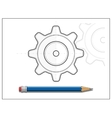 Blueprint gear and pencil vector image