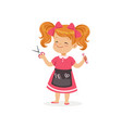 cartoon preschool girl with apron and barber tools vector image