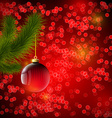 Christmas background with red ball and Christmas vector image