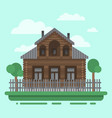country brawn house with trees vector image