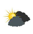dark cloudy sun icon flat style vector image