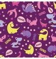Girly Dinosaurs Roaring Seamless Pattern vector image