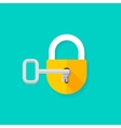 Key in keyhole opening closed padlock vector image