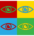 Pop art eye icons vector image