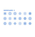 snowflake icons decorative elements of winter vector image