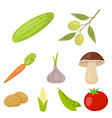 vegetables set icons in cartoon style big vector image