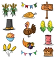 Thanksgiving element set of doodle vector image