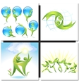 Eco-icon green dancers with tree concept vector image