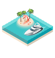 isometric yacht and tropical island vector image