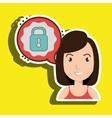 woman communication padlock bubble vector image