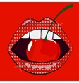 Sensual woman pink lips in rhinestones with cherry vector image