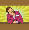 businessman bearded hipster concierge sits and vector image