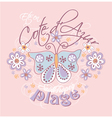 Azure coast with butterfly and flowers vector image
