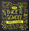 bright back to school doodle on chalkboard vector image