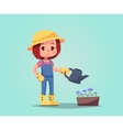 girl woman happy cartoon gardener with watering vector image