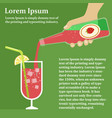 hand holding a bottle pours strawberry juice vector image