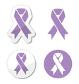 Lavender ribbon general cancer awareness vector image