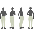 man silhouette in salute stand pose vector image