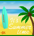 summer time vacation greeting card or banner with vector image