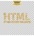 Gold glitter icon of html symbol isolated vector image