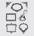 Swirl Ornaments Floral Frame and Corner vector image