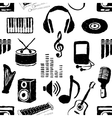 doodle seamless music pattern vector image