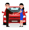 cartoon man giving car keys to a woman vector image
