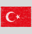 hand drawn turkish flag vector image