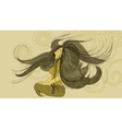 hand-drawn young woman in a meditative pose vector image