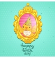 Happy Birthday card with a bird in frame vector image
