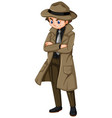 man in brown overcoat and hat vector image