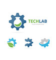 set of gear logo combination mechanic and lab vector image