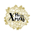 Golden wreath and Xmas greetings vector image
