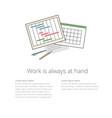 Workdesk 02 ganntchart and calendar vector image