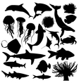 animal creatures silhouettes vector image