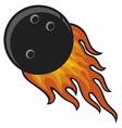 bowling ball in fire vector image