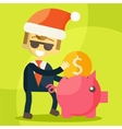 Businessman putting coin into piggy bank Christmas vector image