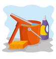 cleaning supplies with bucket sponge detergent vector image