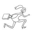Crazy running shopping girl vector image