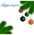 Bowling balls on Christmas tree branch vector image