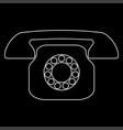 retro telephone white color path icon vector image