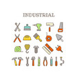 different instruments thin line color icons set vector image vector image