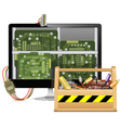 Computer Repair with Toolbox vector image
