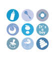 boy baby things icons vector image