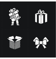Gift flat contour shop icon set on black vector image